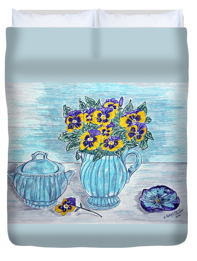 Stangl Pottery Duvet Cover featuring the painting Stangl Pottery And Pansies by Kathy Marrs Chandler