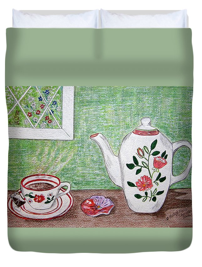 Stangl Pottery Duvet Cover featuring the painting Stangl Pottery Rose Pattern by Kathy Marrs Chandler