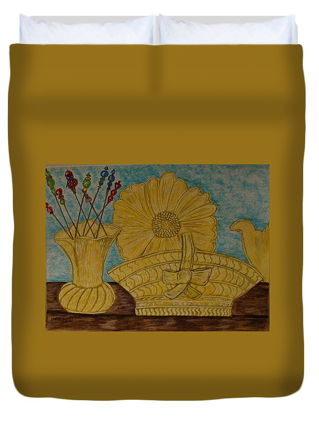 Stangl Pottery Duvet Cover featuring the painting Stangl Pottery Satin Yellow Pattern And Vintage Hat Pins by Kathy Marrs Chandler