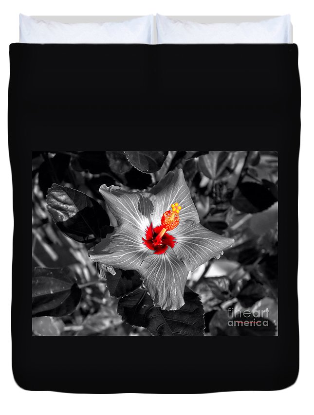 Hibiscus Duvet Cover featuring the photograph Star Bright Hibiscus Selective Coloring Digital Art by Thomas Woolworth