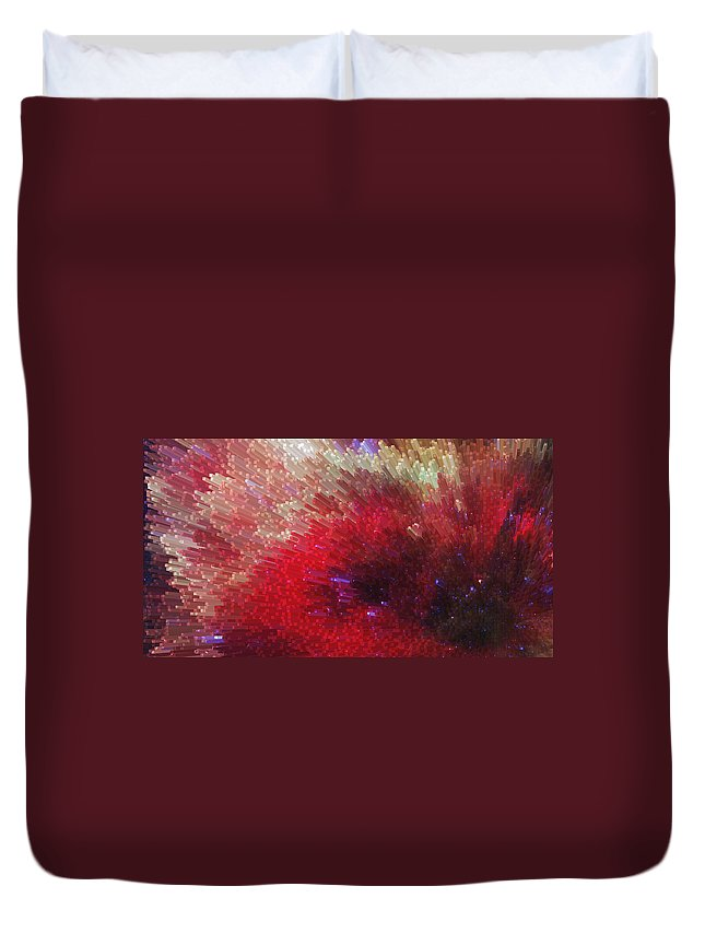Sharon Cummings Duvet Cover featuring the painting Star Burst - Red Abstract Art By Sharon Cummings by Sharon Cummings