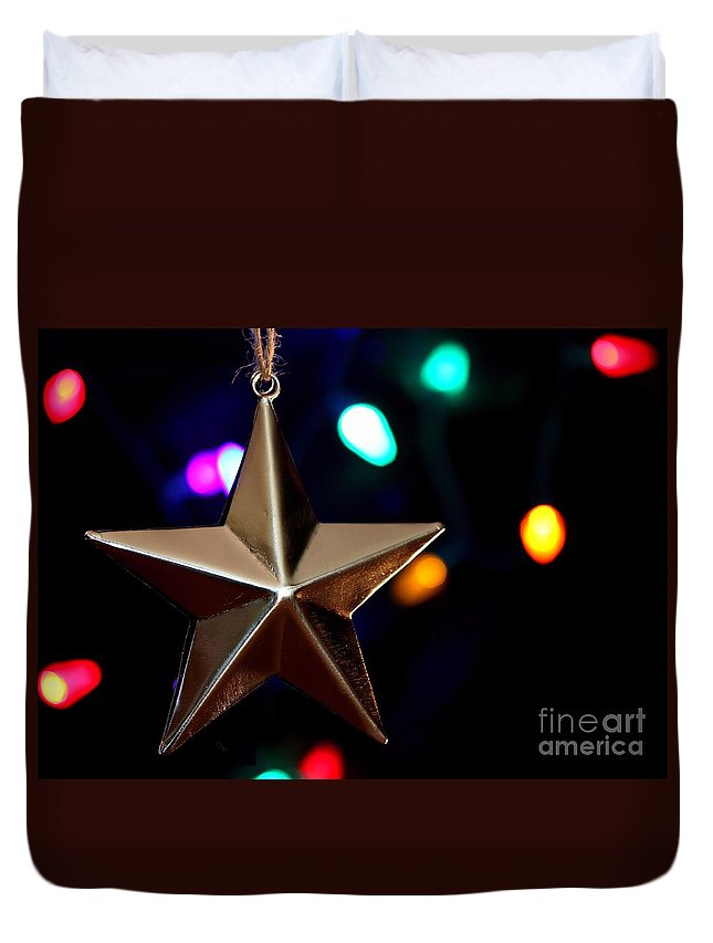 Christmas Duvet Cover featuring the photograph Star Ornament by Kenny Glotfelty