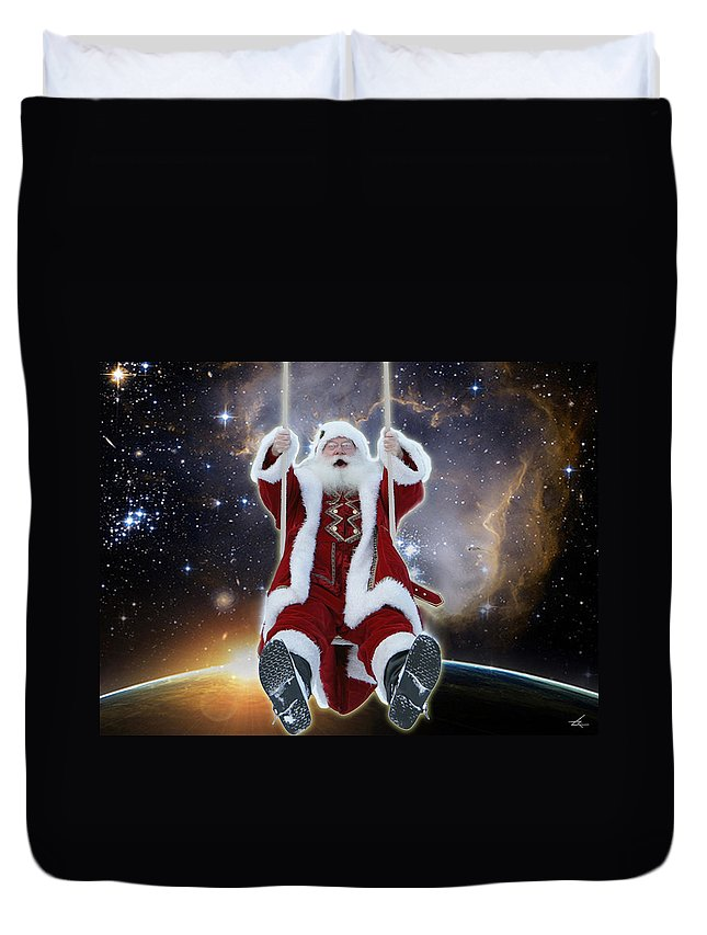 Santa Duvet Cover featuring the photograph Santa's Star Swing by Larry Rice