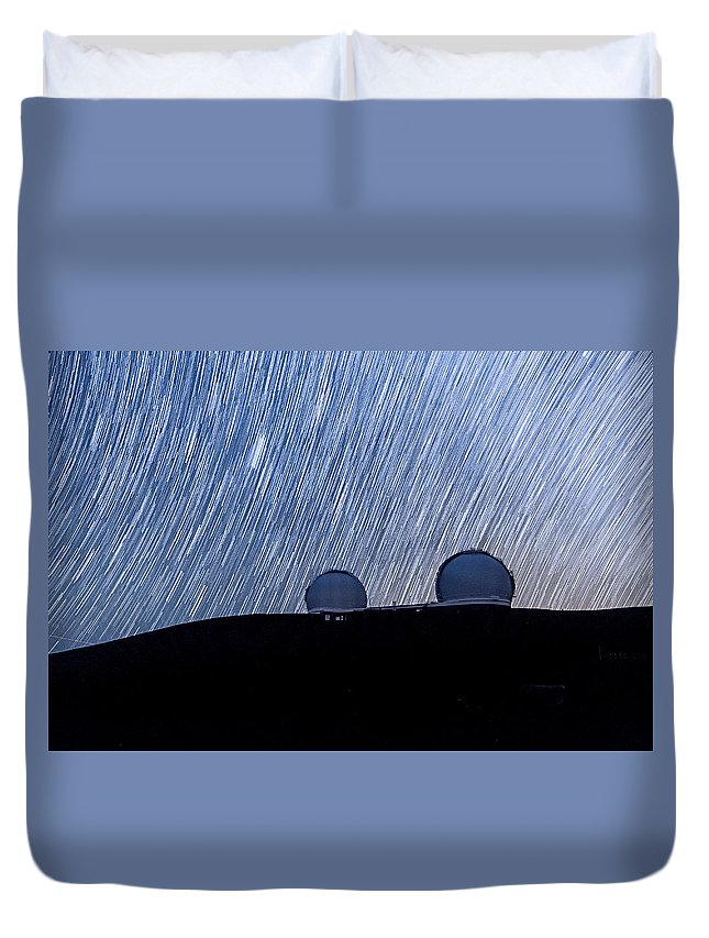 Big Island Duvet Cover featuring the photograph Star Trails Above Keck by Jason Chu