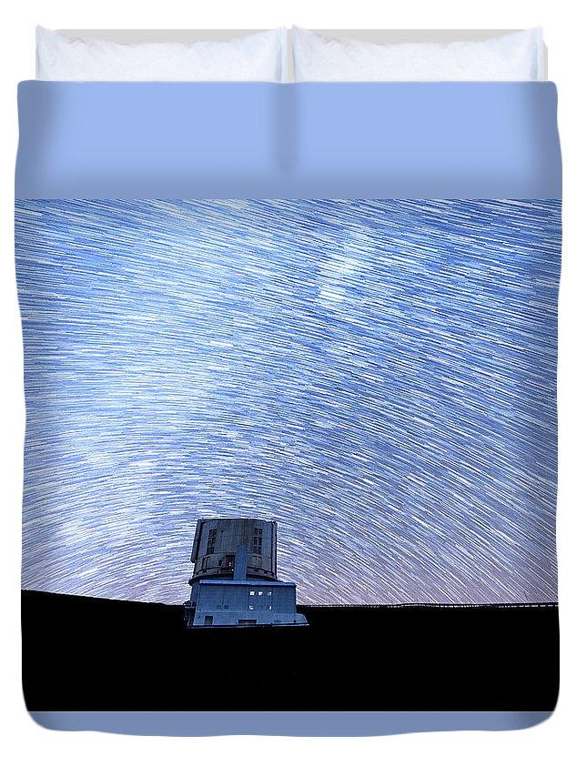 Big Island Duvet Cover featuring the photograph Star Trails Above Subaru Telescope by Jason Chu