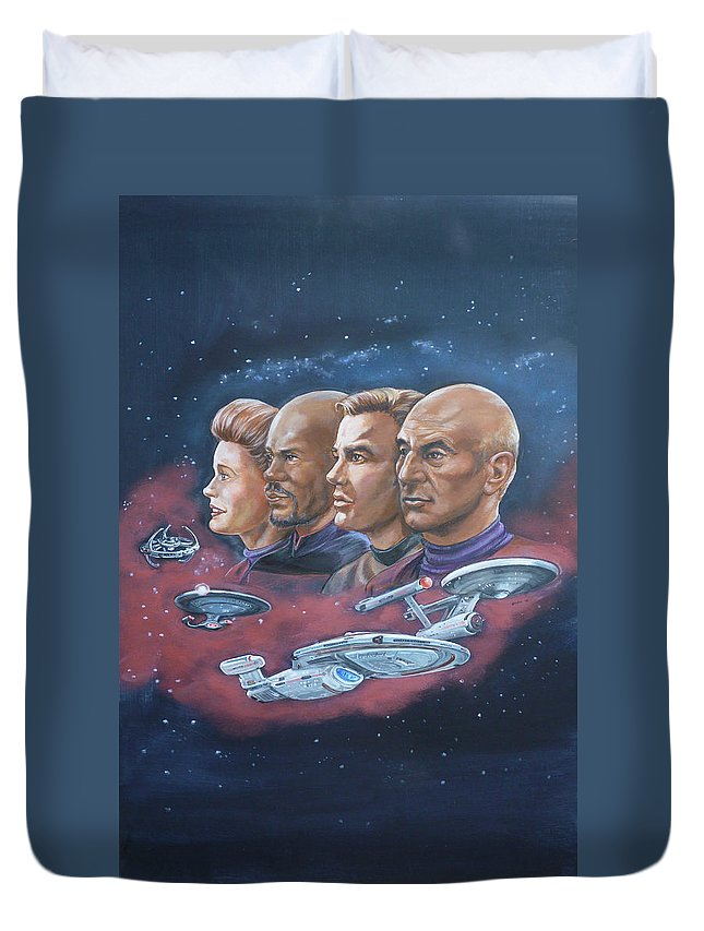 Star Trek Duvet Cover featuring the painting Star Trek Tribute Captains by Bryan Bustard