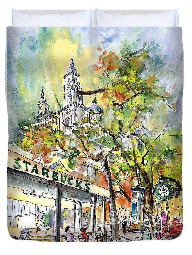 Travel Duvet Cover featuring the painting Starbucks Cafe In Budapest by Miki De Goodaboom