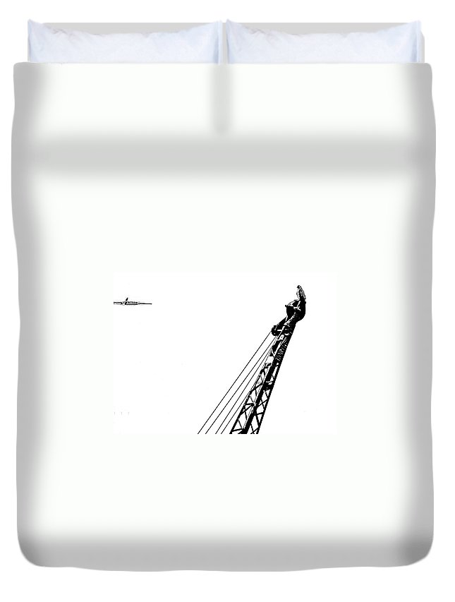 Hawk Duvet Cover featuring the photograph Stare Contest II by Steve Harrington