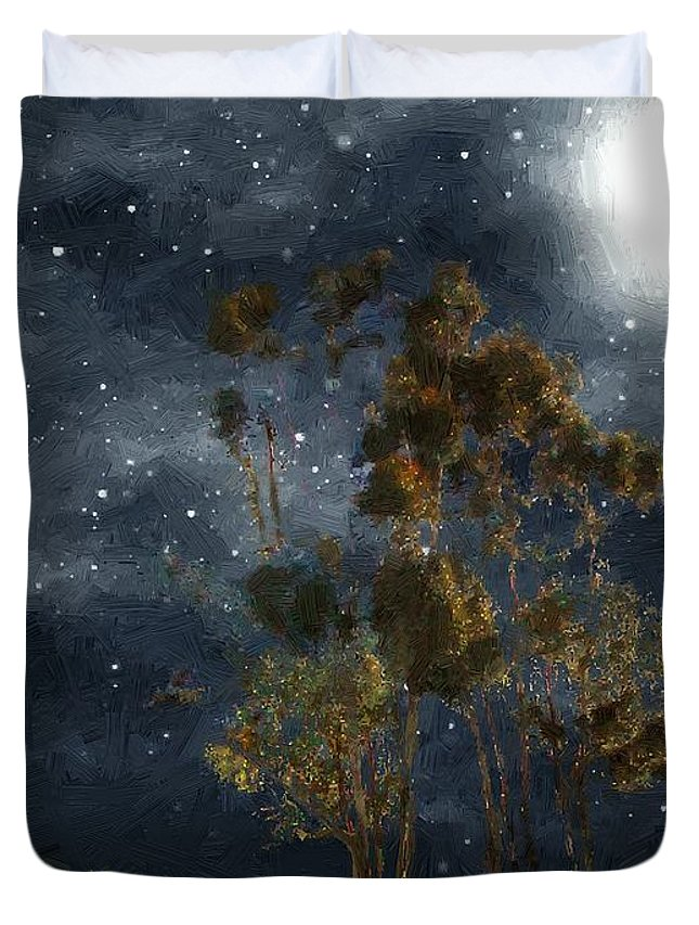 Autumn Duvet Cover featuring the painting Starfield by RC DeWinter