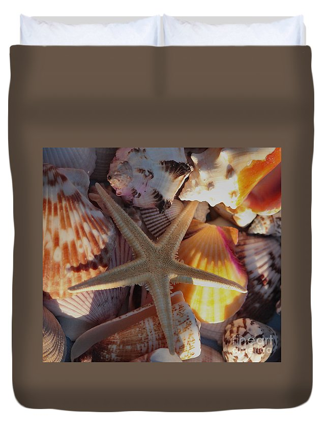 Sea Star Duvet Cover featuring the photograph Starfish And Sun Rays by Luv Photography
