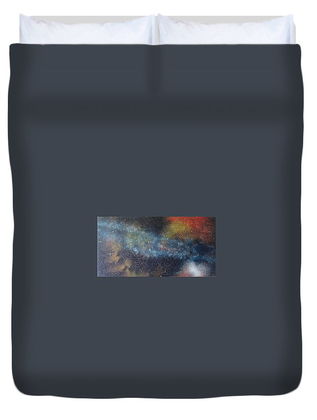 Space;stars;starry;nebula;spiral;galaxy;star Cluster;celestial;cosmos;universe;orgasm Duvet Cover featuring the painting Stargasm by Sean Connolly