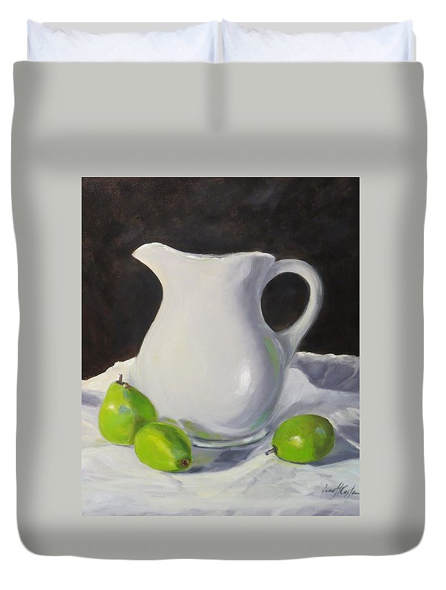 Still Life Duvet Cover featuring the painting Stark White With Green by Jean Costa