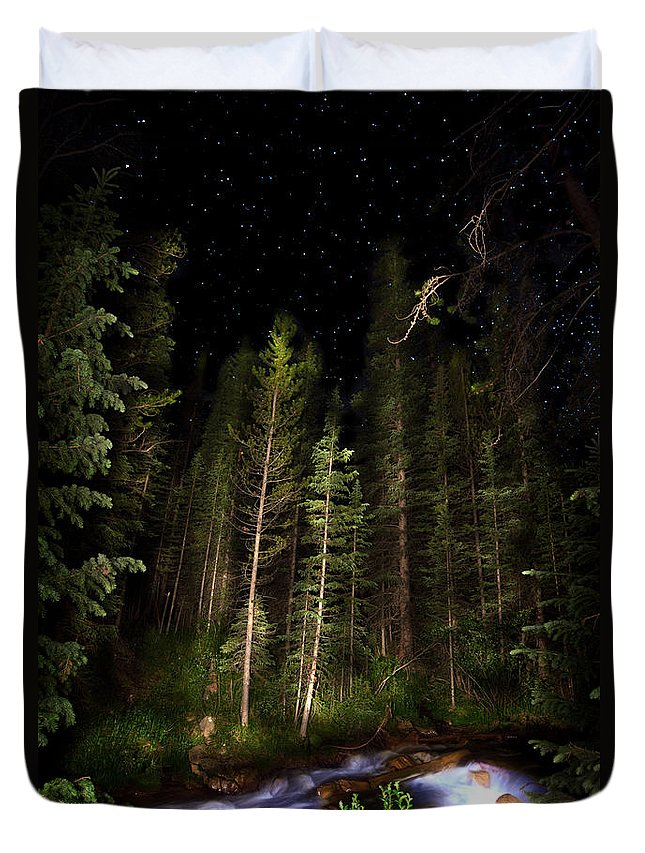 Colorado Duvet Cover featuring the photograph Starry Creek by Mark Andrew Thomas