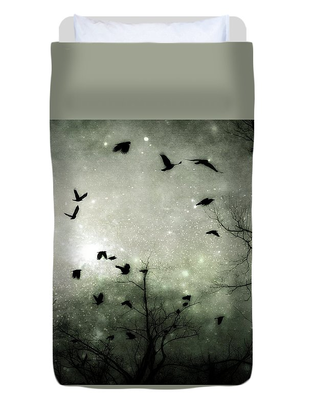 Birds Duvet Cover featuring the digital art Starry Night Reflections by Gothicrow Images