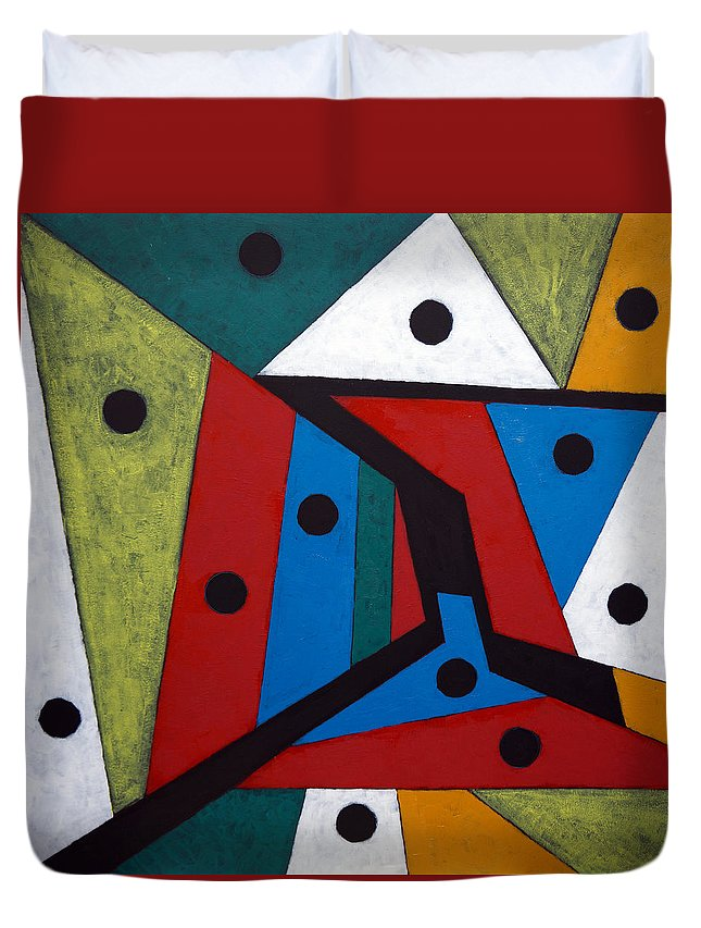 Acrylic Duvet Cover featuring the painting Stars by Sergey Bezhinets
