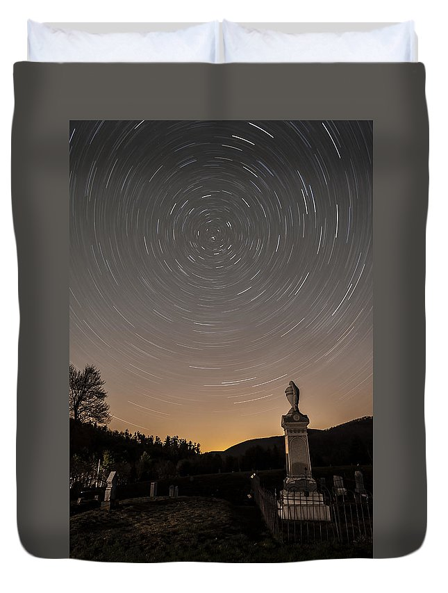Cemetery Duvet Cover featuring the photograph Stars Trails Over Cemetery by Susan Candelario