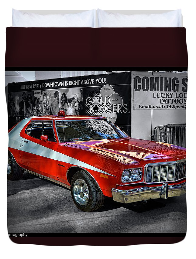 Grand Torino Duvet Cover featuring the photograph Starsky And Hutch Grand Torino by Tommy Anderson