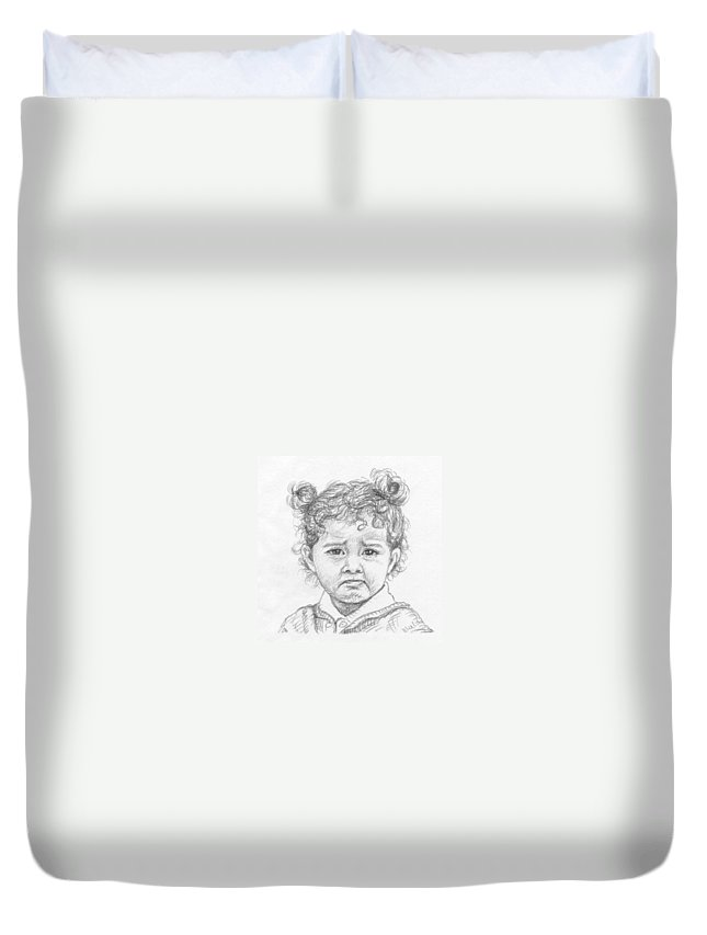 Portrait Duvet Cover featuring the drawing Start Crying by Nicole Zeug
