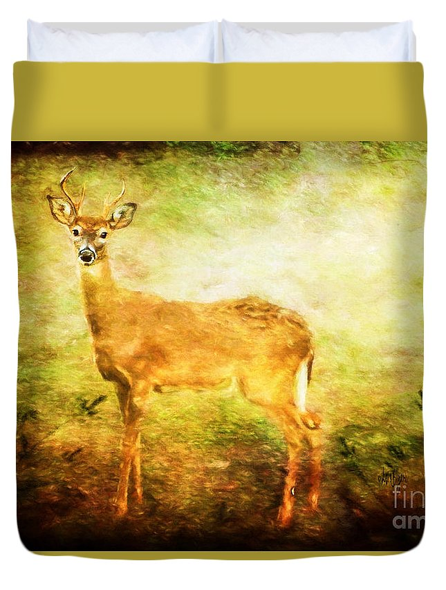 Deer Duvet Cover featuring the photograph Startled by Lois Bryan