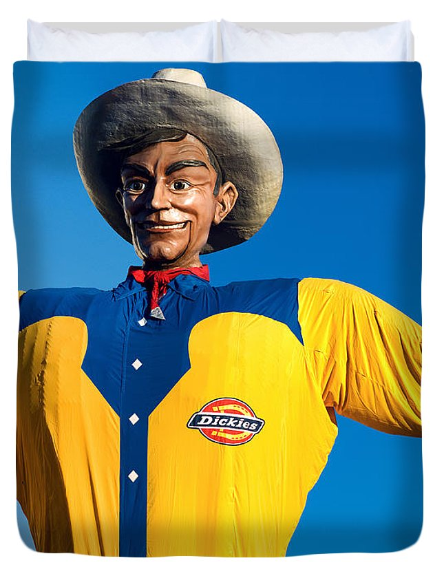 State Fair Of Texas Duvet Cover featuring the photograph State Fair Of Texas Big Tex Yellow by Rospotte Photography