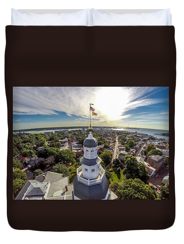 State House Duvet Cover featuring the photograph State House Beauty Over Annapolis by Mid Atlantic Aerial