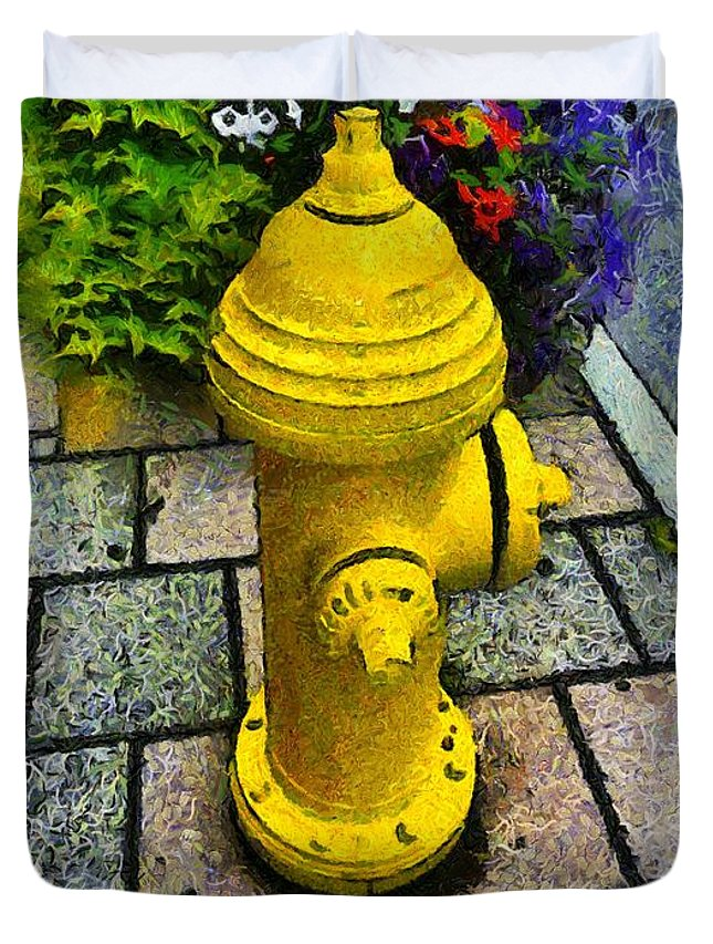 Hydrant Duvet Cover featuring the painting State Street Sentinel by RC DeWinter
