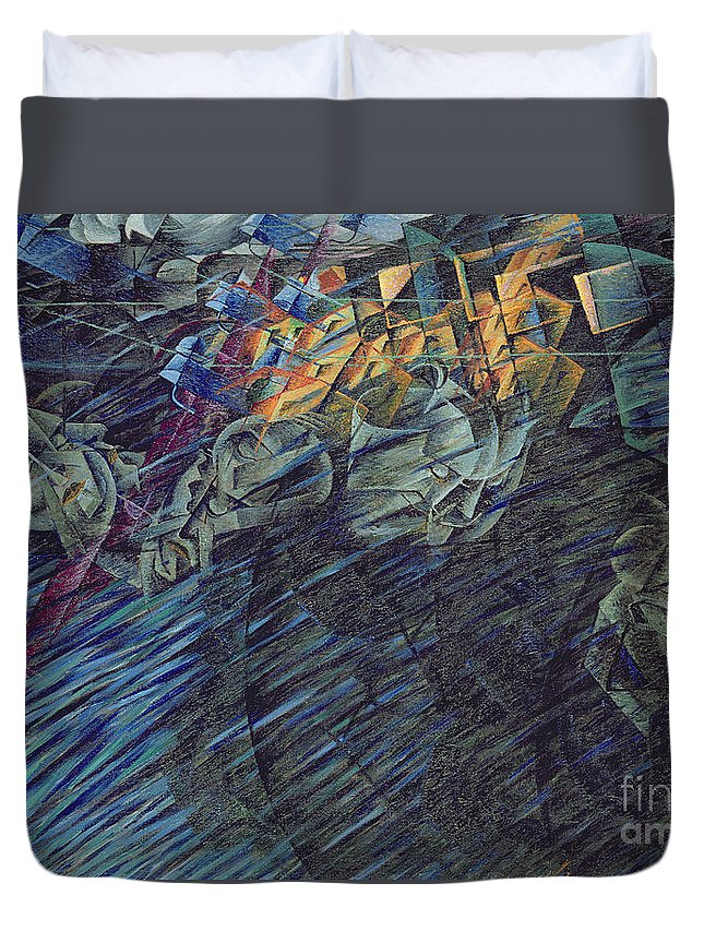 Modern Duvet Cover featuring the painting States Of Mind  Those Who Go by Umberto Boccioni