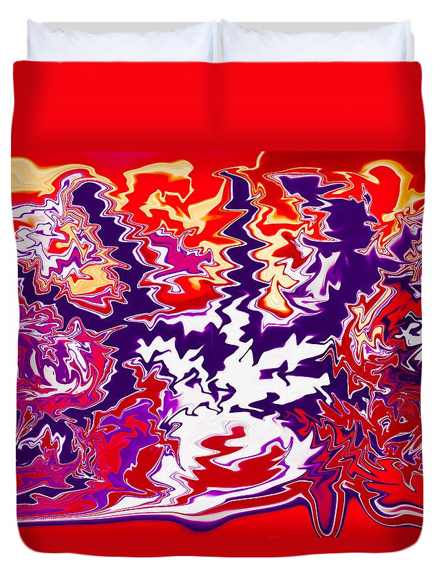 Blue Duvet Cover featuring the painting Static Electricity by Omaste Witkowski
