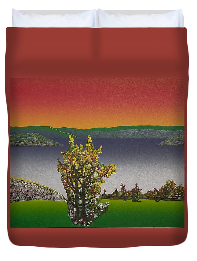 Landscape Duvet Cover featuring the drawing Static view. by Jarle Rosseland