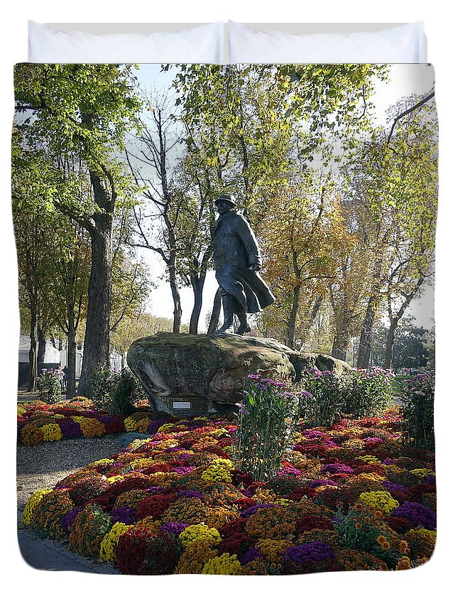 Paris Duvet Cover featuring the photograph Statue And Flower Bed Across The Street From The Grand Palais Off Of Champs Elysees by Richard Rosenshein