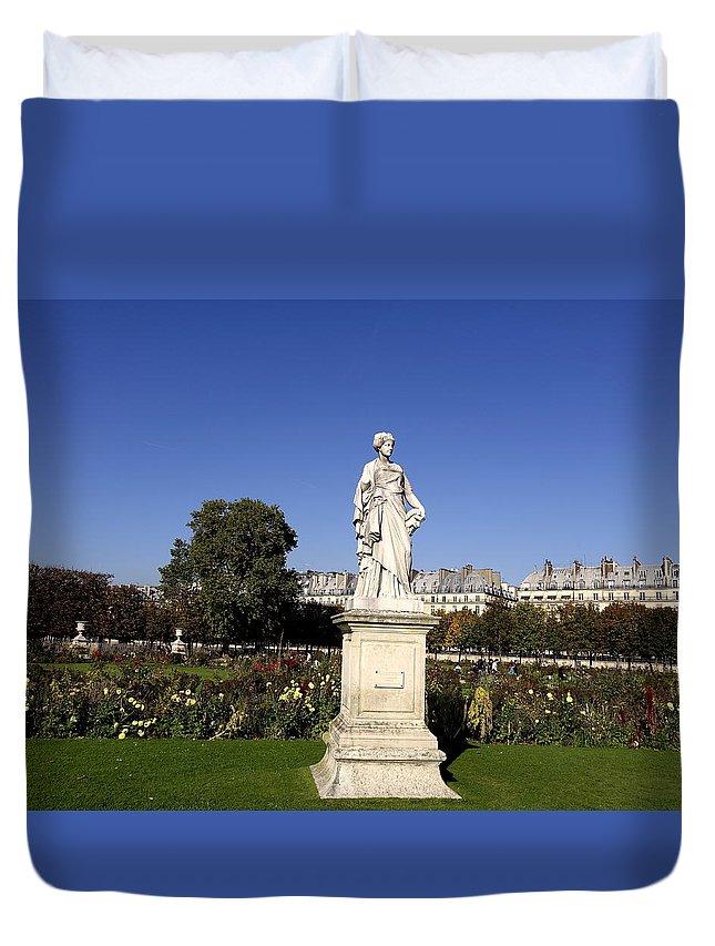 Paris Duvet Cover featuring the photograph Statue At The Jardin Des Tuileries In Paris France by Richard Rosenshein