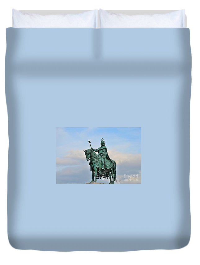 Budapest Duvet Cover featuring the photograph Statue Of St Stephen Hungary King by Imran Ahmed