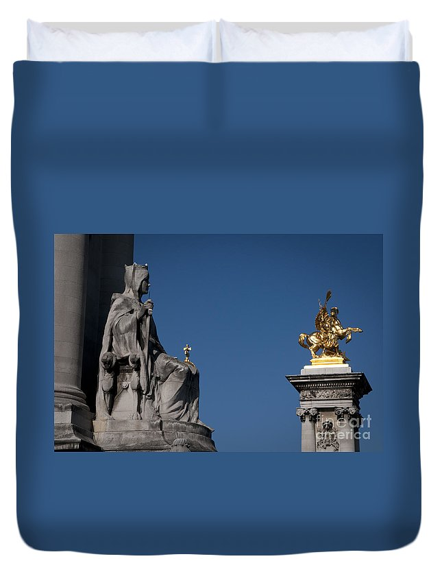 Europe Duvet Cover featuring the photograph Statues On Pont Alexandre IIi by Lana Enderle