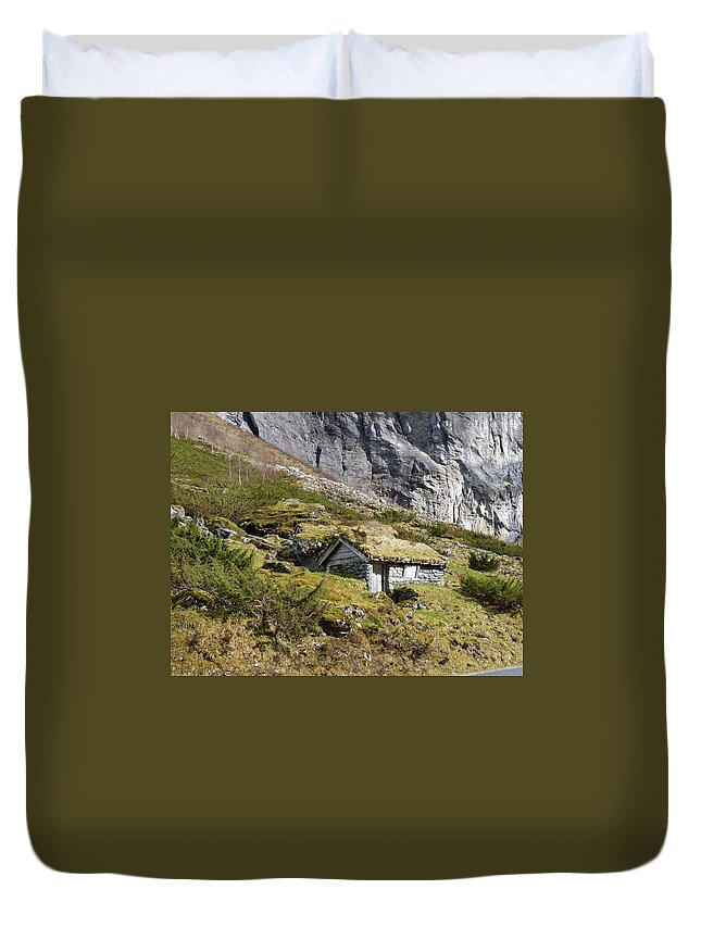 Duvet Cover featuring the photograph Stavbergsetra - Cowherd Huts by Katerina Naumenko