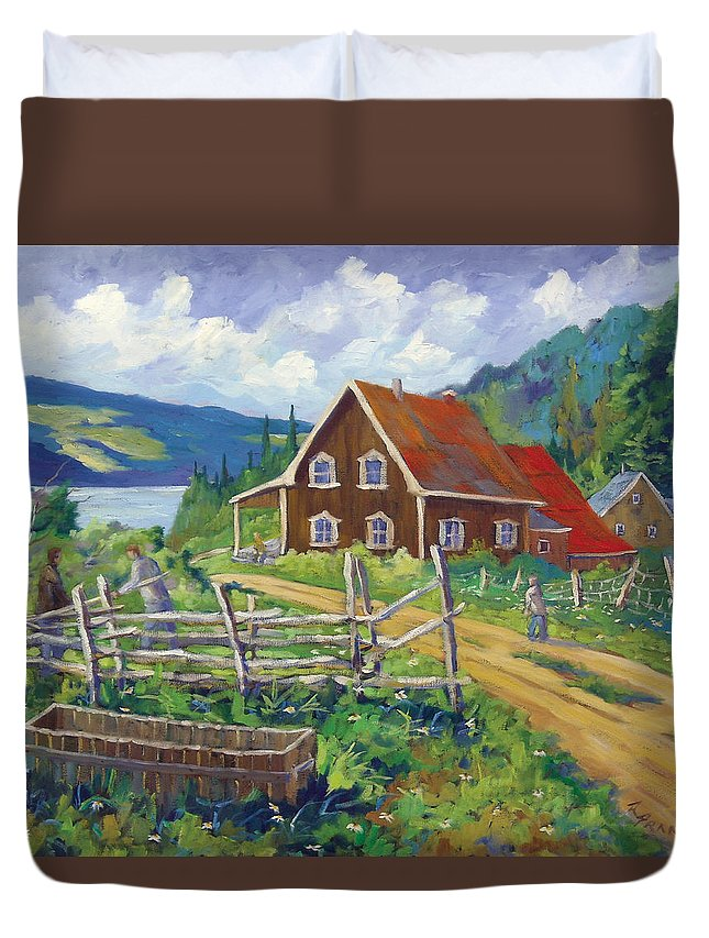 Art Duvet Cover featuring the painting Ste-rose Du Nord by Richard T Pranke