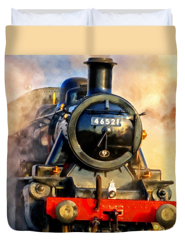 Steam Train Duvet Cover featuring the painting Steam Power by Michael Pickett