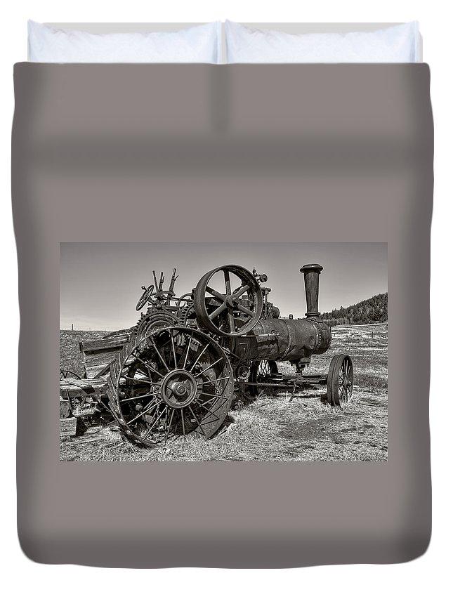 Steam Duvet Cover featuring the photograph Steam Tractor - Molson Ghost Town by Daniel Hagerman