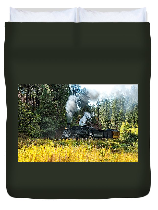 Black Knight Holdings Duvet Cover featuring the photograph Steam Train 2 by Randy Giesbrecht