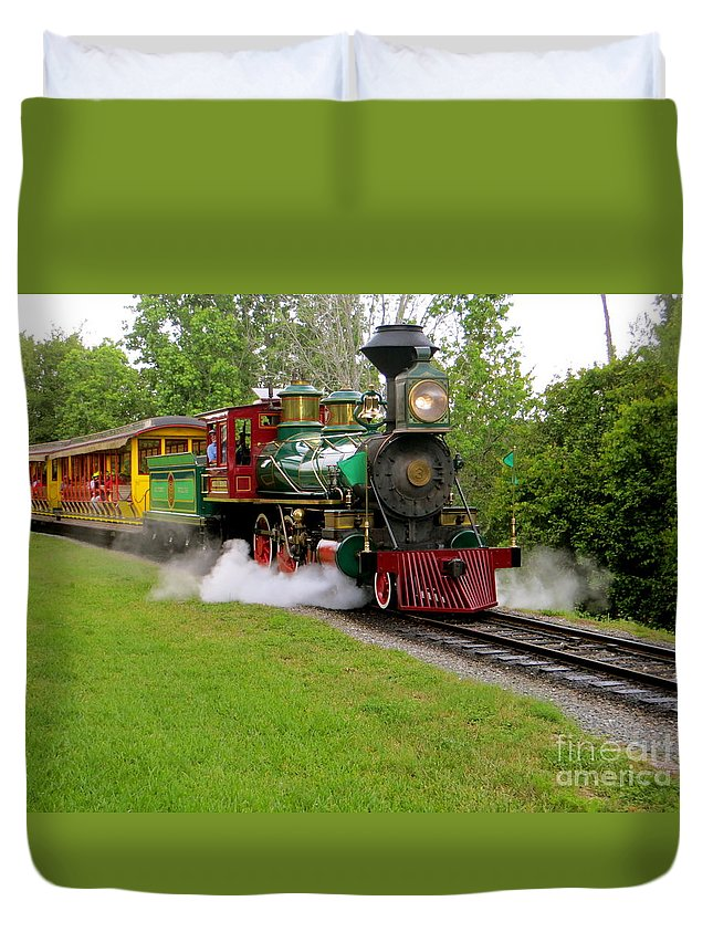 Working Steam Trains Duvet Cover featuring the photograph Steam Train by Joy Hardee