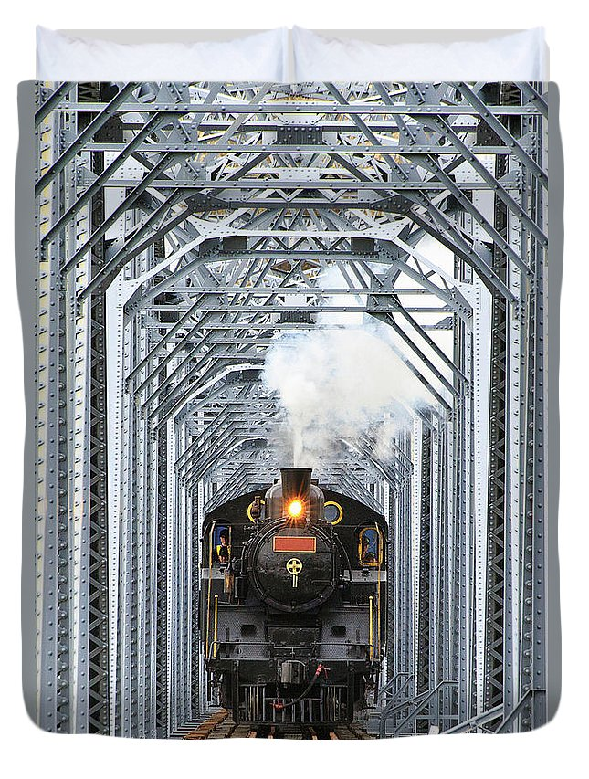 Air Pollution Duvet Cover featuring the photograph Steam Train by Peter Hong