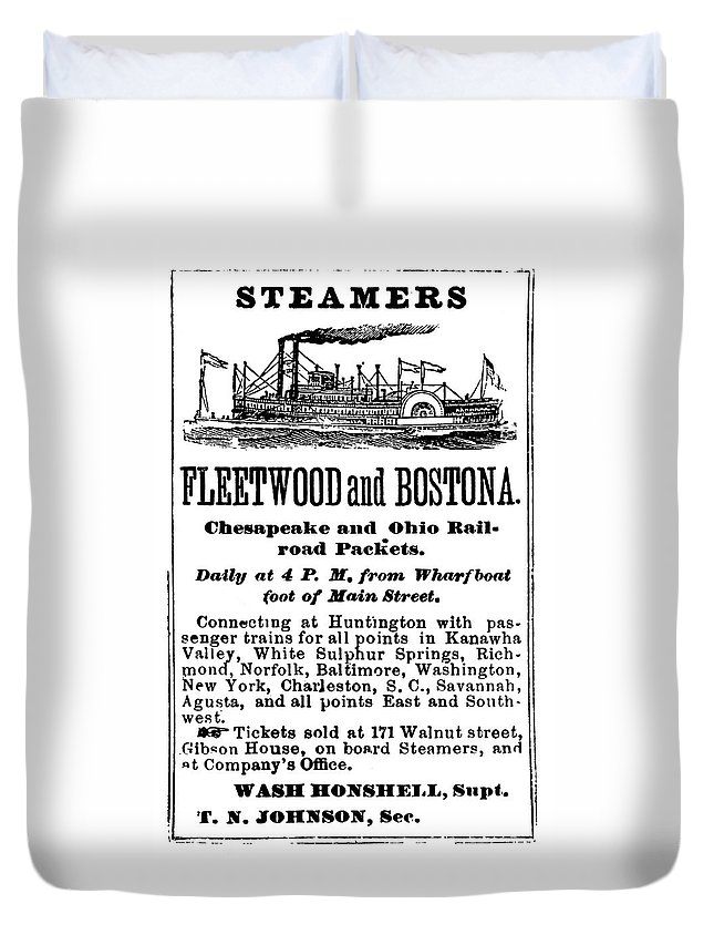 1870 Duvet Cover featuring the painting Steamboat Advertisement by Granger