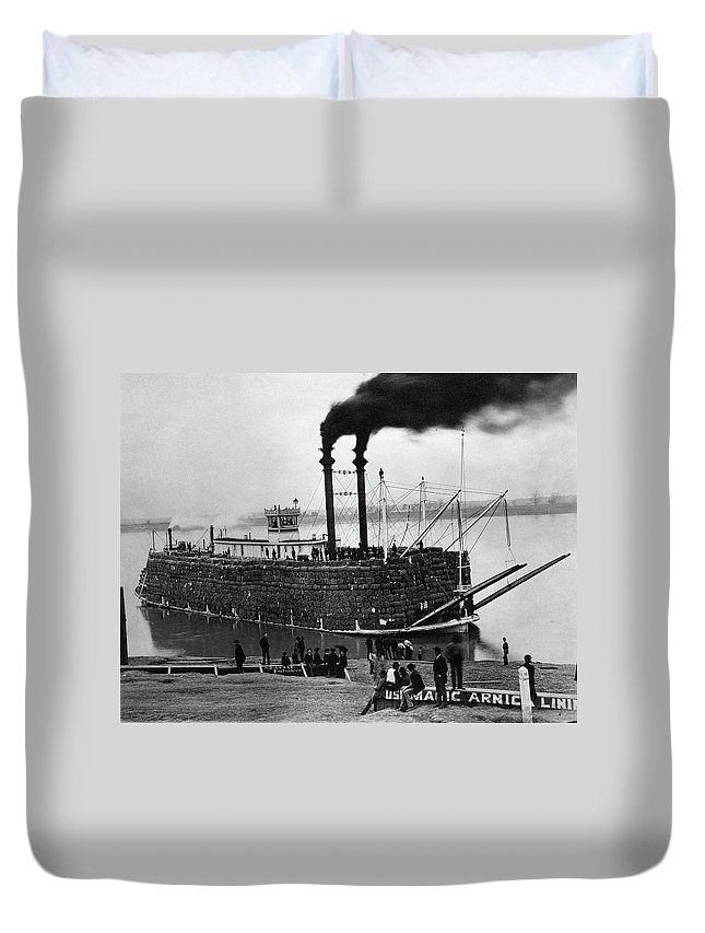 1890 Duvet Cover featuring the photograph Steamboat, C1900 by Granger