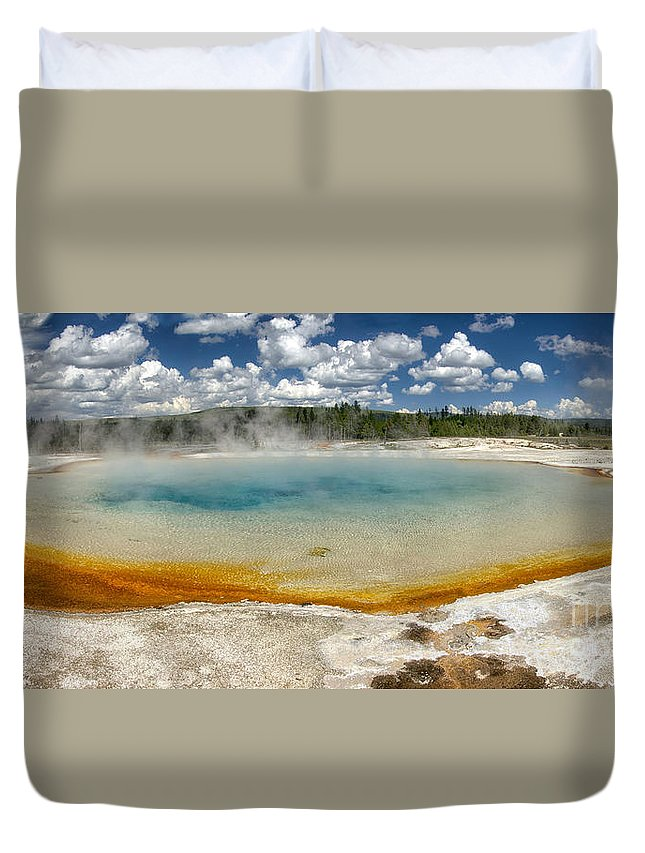 Geyser Duvet Cover featuring the photograph Steaming by Claudia Kuhn