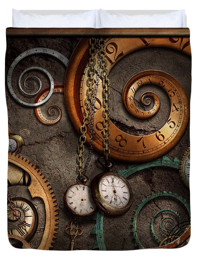 Steampunk Duvet Cover featuring the photograph Steampunk - Abstract - Time is complicated by Mike Savad