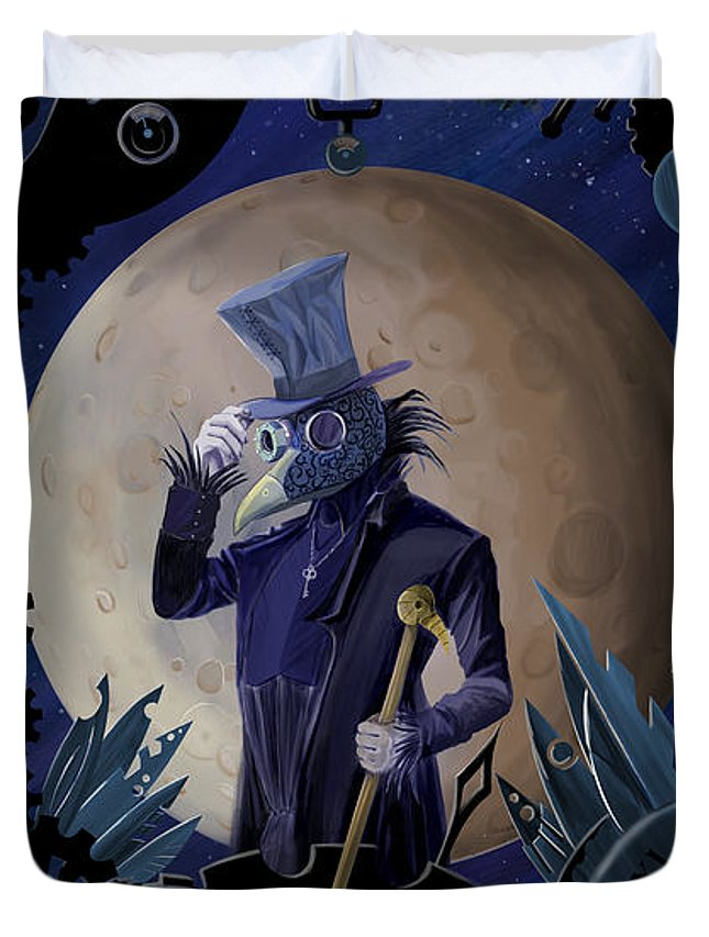 Steampunk Duvet Cover featuring the painting Steampunk Crownman by Sassan Filsoof