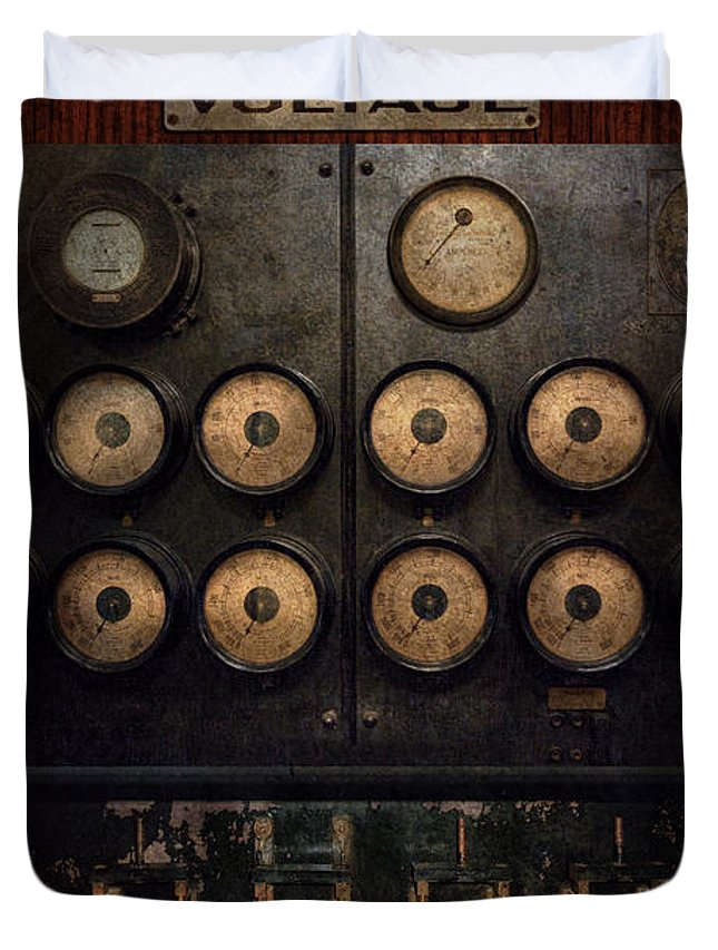 Steampunk Duvet Cover featuring the photograph Steampunk - Electrical - Center Of Power by Mike Savad