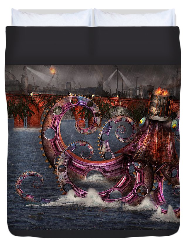 Savad Duvet Cover featuring the digital art Steampunk - Enteroctopus Magnificus Roboticus by Mike Savad