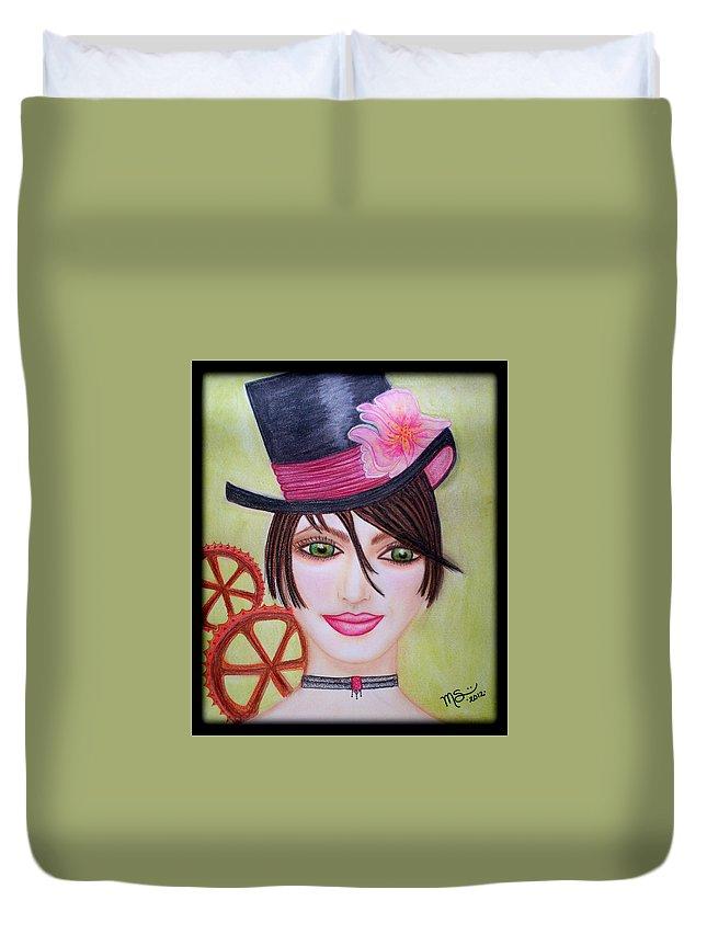 Steampunk Duvet Cover featuring the pastel Steampunk Girl by Absinthe Art By Michelle LeAnn Scott