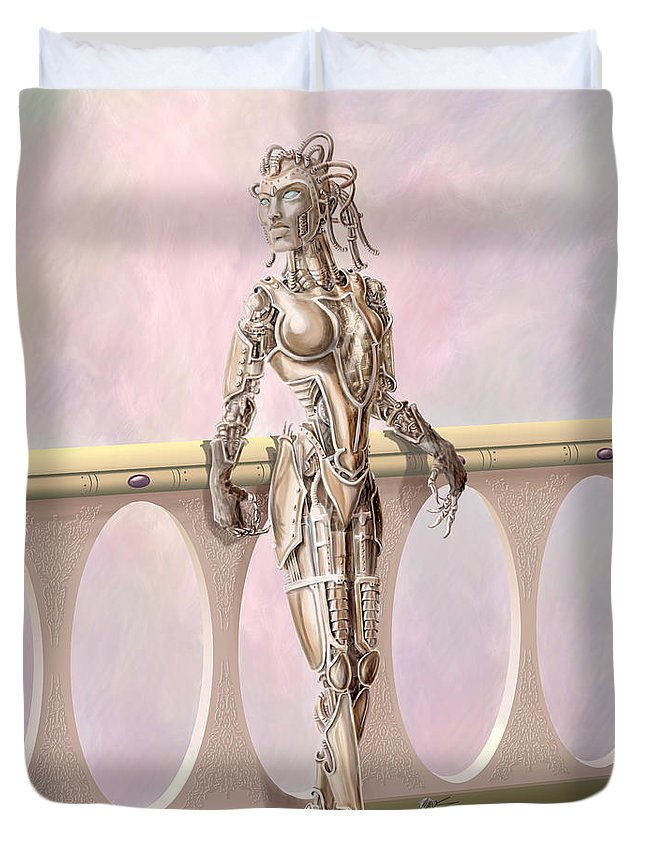 Steampunk Duvet Cover featuring the digital art Steampunk Robot by Rob Carlos