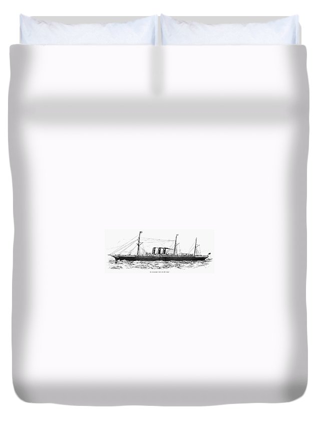 1889 Duvet Cover featuring the drawing Steamship - City Of New York by Granger